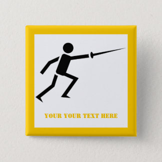Fencer black silhouette with sword fencing yellow 2 inch square button
