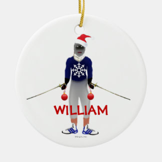 Fencing Christmas Custom Ceramic Ornament