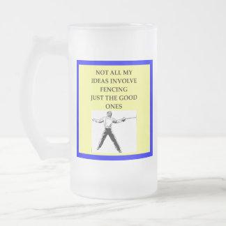 FENCING FROSTED GLASS BEER MUG