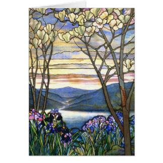 Fenêtre en verre teinté de Tiffany de magnolia et Carte De Vœux