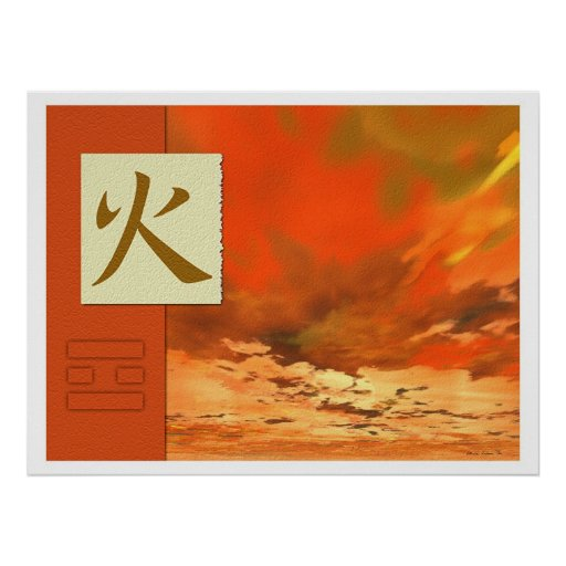 Feng shui bagua images fire landscape posters zazzle for Posters feng shui