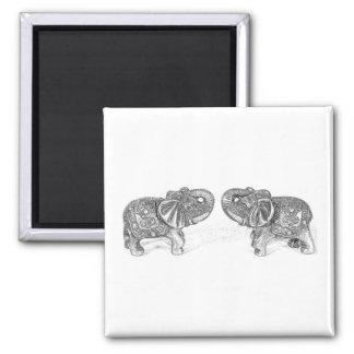 Feng Shui Double Elephant - B&W Magnet