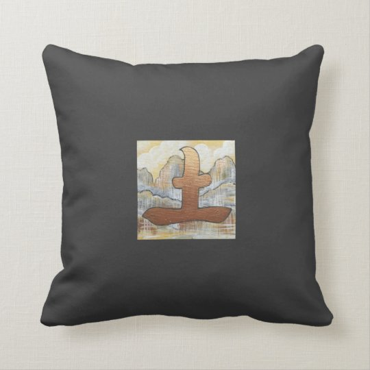 Feng Shui earth symbol oriental design charcoal Throw Pillow