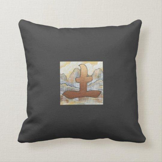 Feng Shui earth symbol oriental design charcoal Throw Pillow