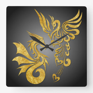Feng Shui Golden Phoenix & Dragon Clock - black