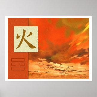 Feng Shui : Images de Bagua : Paysage du feu Poster