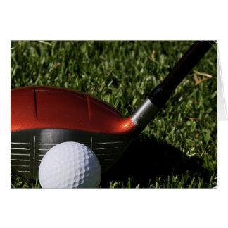 Fer de golf et carte de voeux de boule