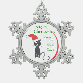 Feral Cat Christmas Snowflake Pewter Christmas Ornament