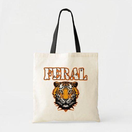 Feral Gear Designs - Feral Tiger Head Orange Tote Bags