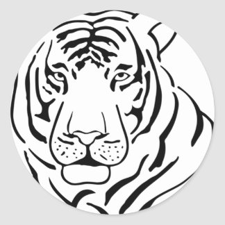 Feral Tiger Drawing Classic Round Sticker