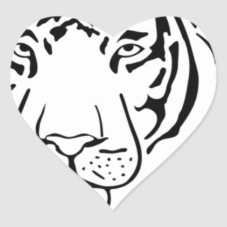 Feral Tiger Drawing Heart Sticker