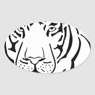 Feral Tiger Drawing Oval Sticker