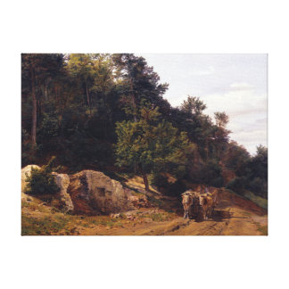 Ferdinand Georg Waldmüller Forest Road with Oxcart Canvas Print