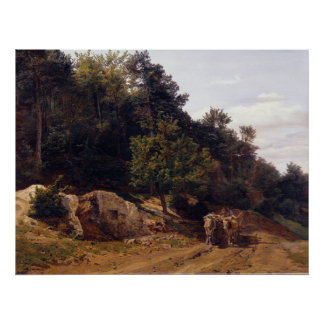 Ferdinand Georg Waldmüller Forest Road with Oxcart Poster
