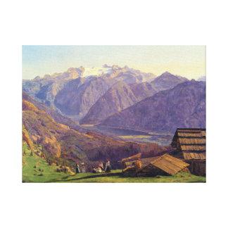 Ferdinand Georg Waldmüller View of the Dachstein Canvas Print