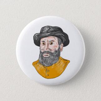 Ferdinand Magellan Bust Drawing 2 Inch Round Button