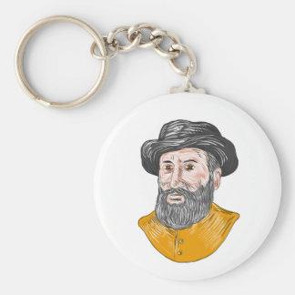 Ferdinand Magellan Bust Drawing Basic Round Button Keychain