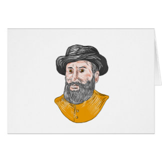 Ferdinand Magellan Bust Drawing Card