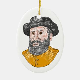 Ferdinand Magellan Bust Drawing Ceramic Ornament