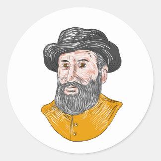 Ferdinand Magellan Bust Drawing Classic Round Sticker