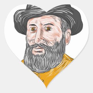 Ferdinand Magellan Bust Drawing Heart Sticker