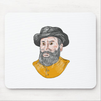 Ferdinand Magellan Bust Drawing Mouse Pad