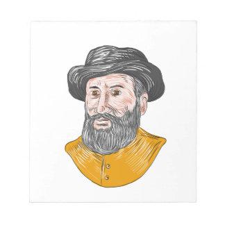 Ferdinand Magellan Bust Drawing Notepad