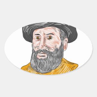 Ferdinand Magellan Bust Drawing Oval Sticker