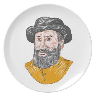 Ferdinand Magellan Bust Drawing Plate
