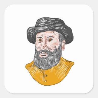 Ferdinand Magellan Bust Drawing Square Sticker