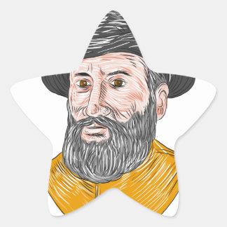 Ferdinand Magellan Bust Drawing Star Sticker