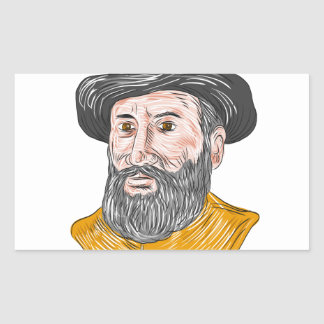 Ferdinand Magellan Bust Drawing Sticker
