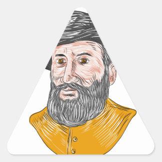Ferdinand Magellan Bust Drawing Triangle Sticker