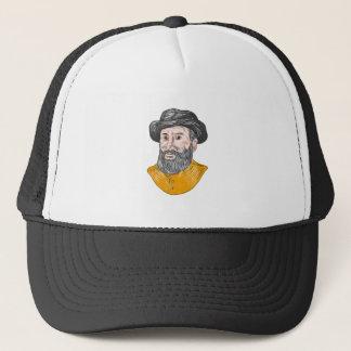 Ferdinand Magellan Bust Drawing Trucker Hat