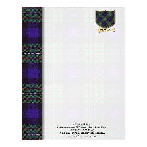 Ferguson tartan design paper customized letterhead