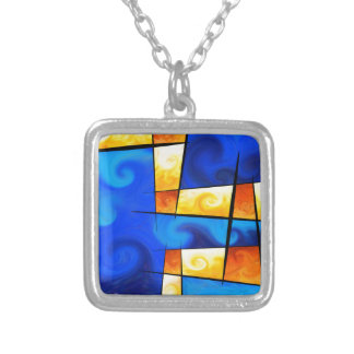 Fergussos V1 - digital abstract Silver Plated Necklace