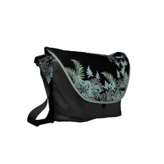 Fern & Clematis Flower Floral Garden Messenger Bag