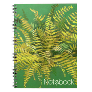 Fern, floral, customizable, greenery, blue & green notebooks