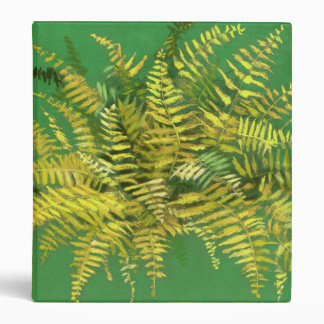 Fern, fronds, floral, green golden yellow greenery 3 ring binder