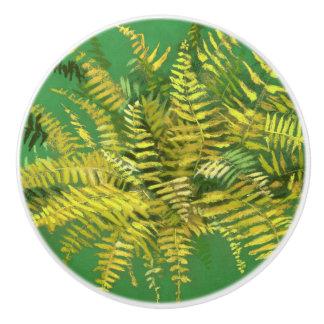 Fern, fronds, floral, green golden yellow greenery ceramic knob