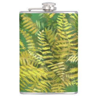 Fern, fronds, floral, green golden yellow greenery hip flask