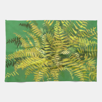 Fern, fronds, floral, green golden yellow greenery kitchen towel