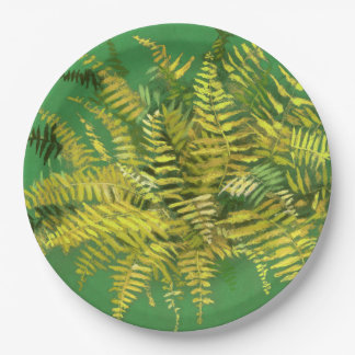 Fern, fronds, floral, green golden yellow greenery paper plate