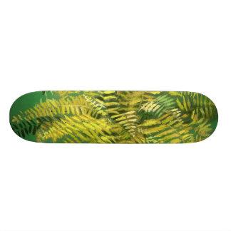 Fern, fronds, floral, green golden yellow greenery skateboard