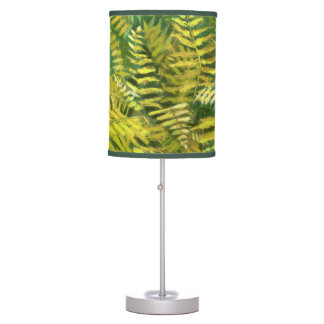 Fern, fronds, floral, green golden yellow greenery table lamp