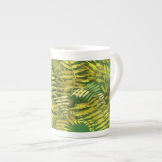 Fern, fronds, floral, green golden yellow greenery tea cup