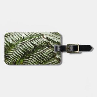 Fern Fronds II Dark Green Nature Bag Tag