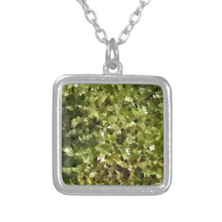 Fern Green Abstract Low Polygon Background Silver Plated Necklace