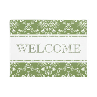 Fern Green and White Damask Welcome Doormat