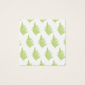 Fern green leaf silhouette pattern square business card